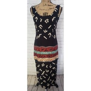 VINTAGE 1970's BREAKIN' LOOSE TRIBAL MAXI DRESS